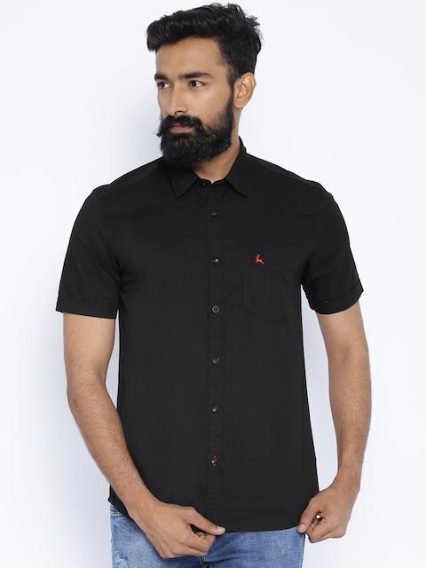 Parx Black Slim Fit Casual Shirt
