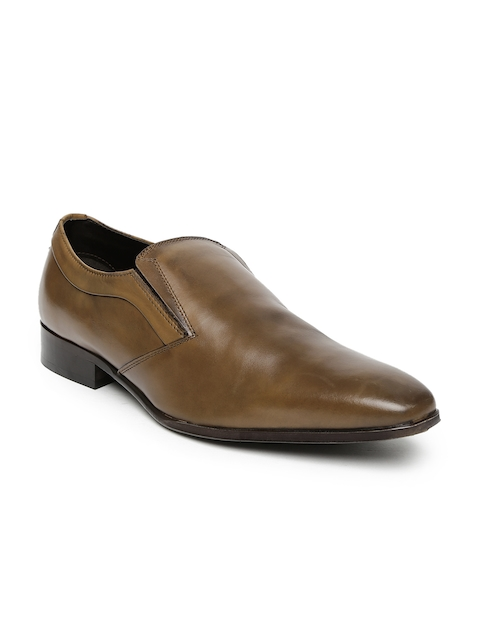 Alberto Torresi Men Tan Leather Semiformal Slip-Ons