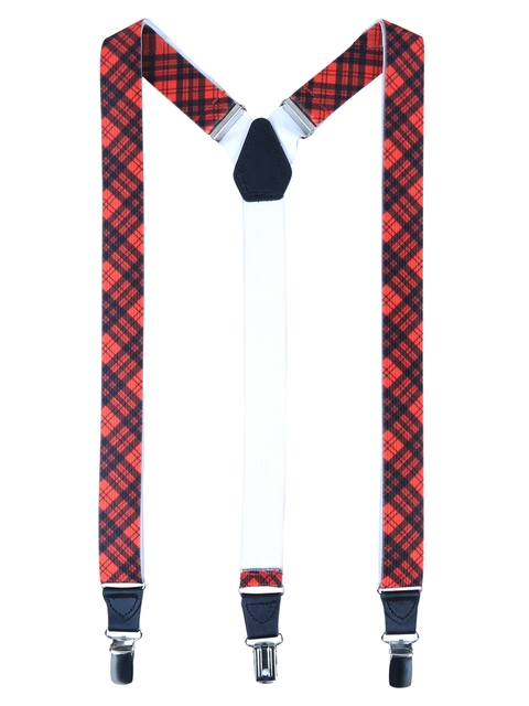 Alvaro Castagnino Men Red & Blue Checked Suspenders