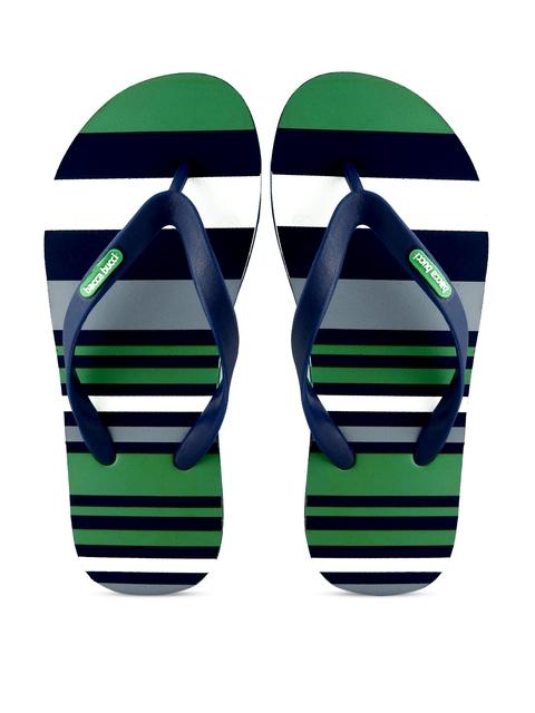 Bacca Bucci Men Blue & Green Striped Flip-Flops