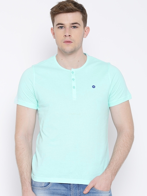American Swan Turquoise Blue Henley T-shirt