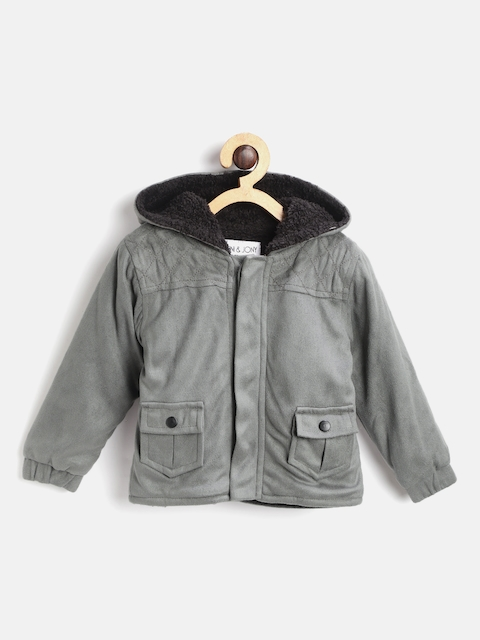 Gini and Jony Boys Grey Solid Hooded Suede Tailored Jacket