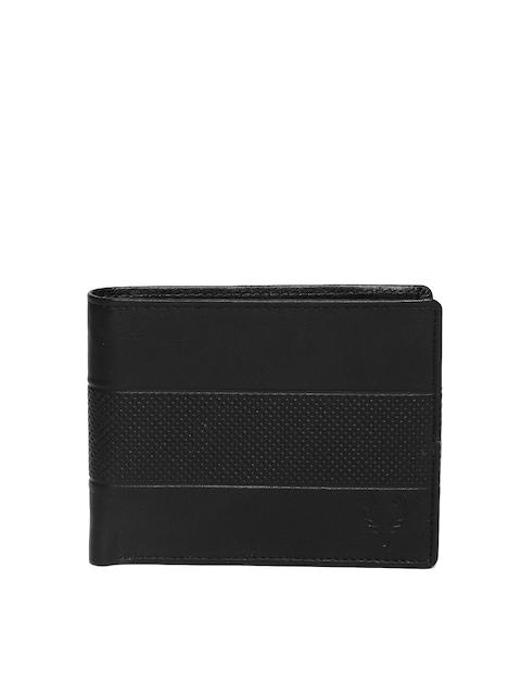 Allen Solly Men Black Textured Leather Wallet
