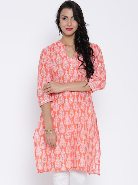 BIBA Orange & White Printed Kurta