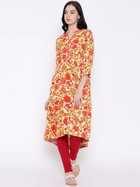 BIBA Yellow & Red Floral Print Anarkali Kurta  available at myntra for Rs.779