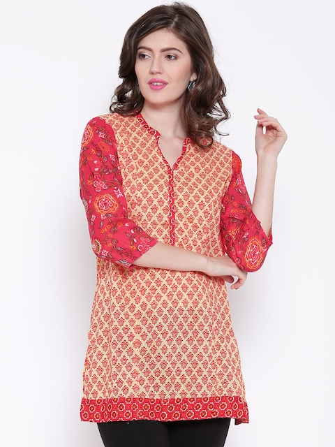 BIBA Yellow & Red Printed Kurti  available at myntra for Rs.539