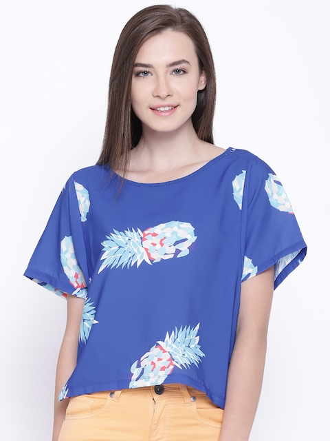 United Colors of Benetton Blue Printed Boxy Top