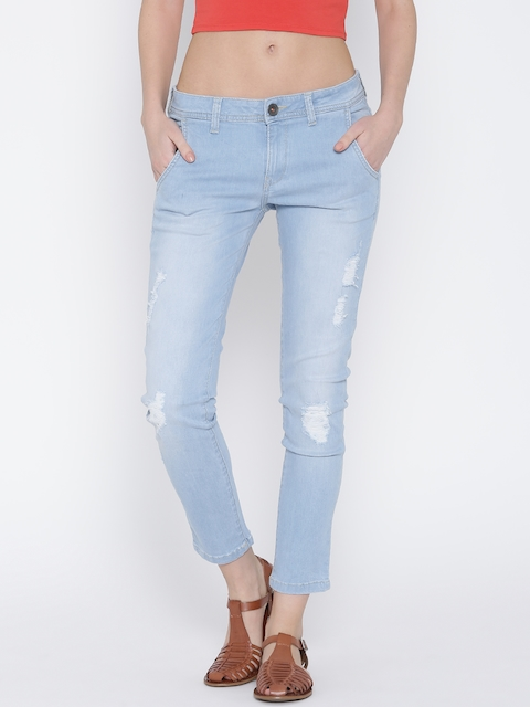 United Colors of Benetton Blue Washed Distressed Slim Jeans