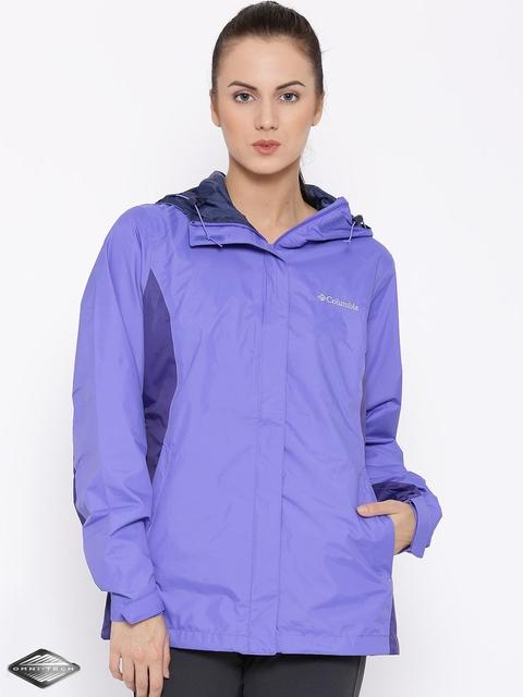 Columbia Women Purple Arcadia II Hooded Waterproof Breathable Rain Jacket