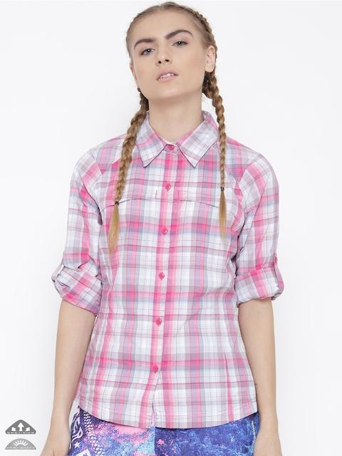 Columbia Women Pink Silver Ridge Plaid Long Sleeve Checked Outdoor Shirt
