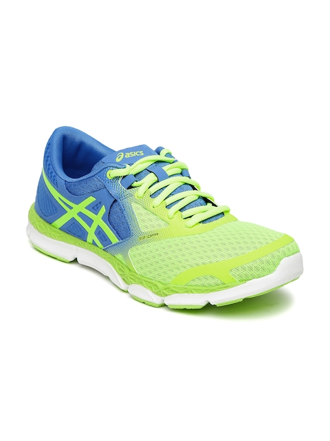 ASICS Women Neon Green & Blue 33-DFA Running Shoes  available at myntra for Rs.3499