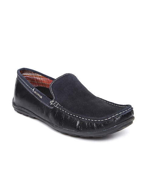 Provogue Men Navy & Black Leather Loafers