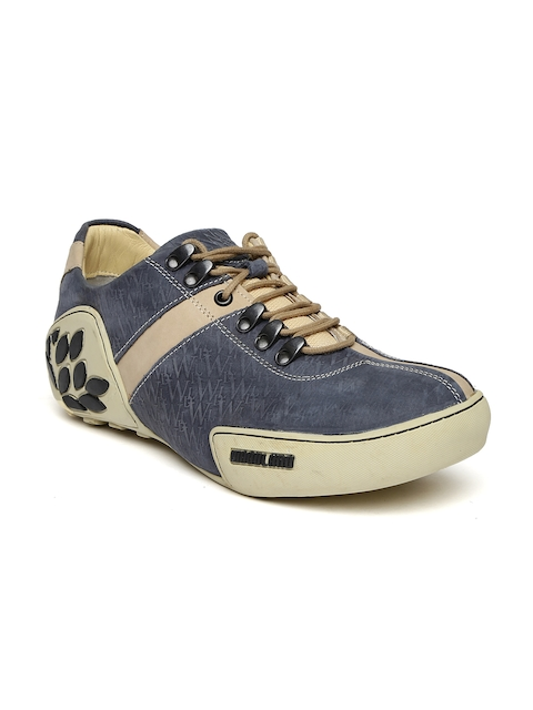 Woodland Men Blue Leather Casual Shoes