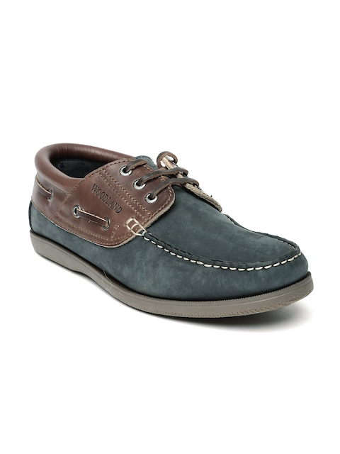 Woodland Men Navy & Brown Leather Boat Shoes  available at myntra for Rs.1897