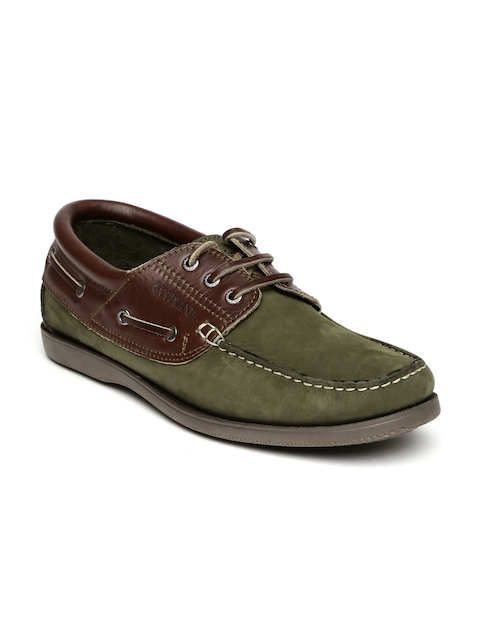 Woodland Men Olive Green & Brown Leather Boat Shoes  available at myntra for Rs.1897