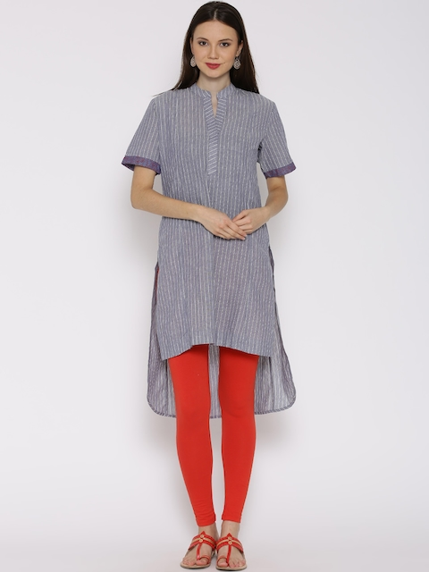 BIBA Blue Khadi Striped High-Low Kurta