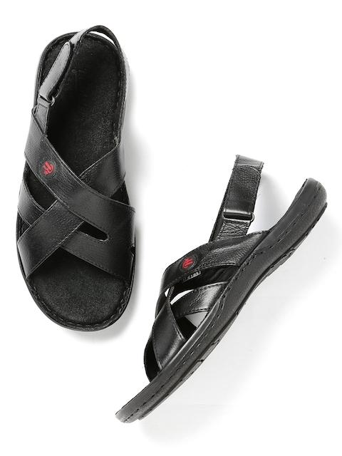 Roadster Men Black Leather Sandals