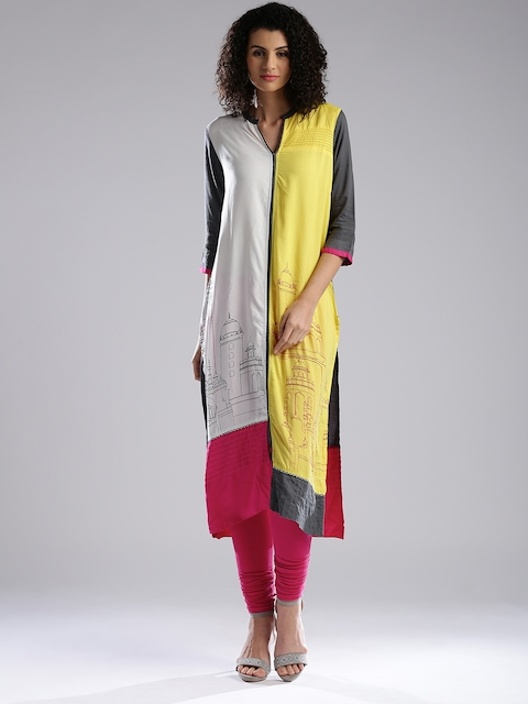 W White & Grey Printed Panelled Kurta