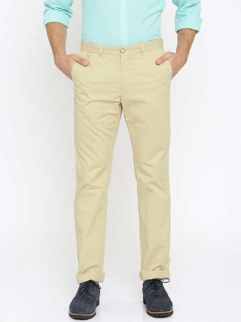 Allen Solly Men Beige Solid Flat-Front Trousers