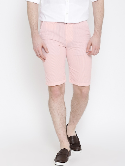 United Colors of Benetton Pink & Off-White Striped Slim Shorts