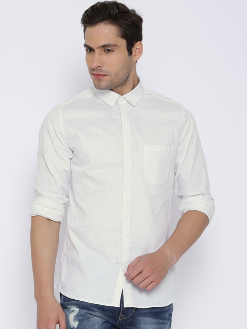 United Colors of Benetton Off-White Casual Shirt