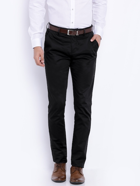 V Dot Black Beat Tapered Fit Formal Trousers
