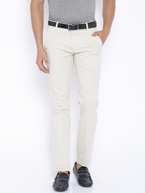 Park Avenue Beige Tapered Fit Trousers