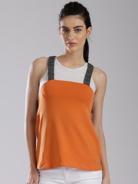 HRX by Hrithik Roshan Off-White & Orange Top