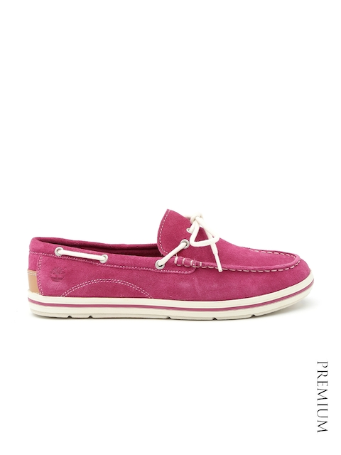 Timberland Women Pink Suede Boat Shoes