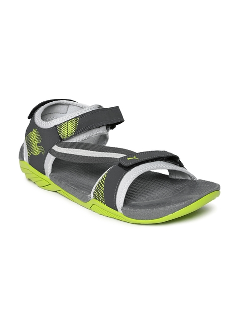 PUMA Men Grey & Neon Green K9 DP Sports Sandals