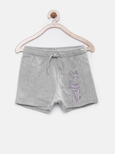 PUMA Girls Grey Melange Fun TD Sweat Shorts  available at myntra for Rs.479