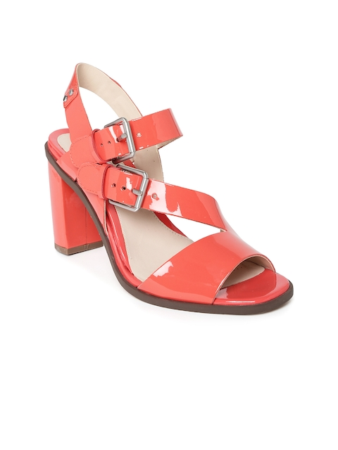 Clarks Women Coral Red Leather Heels