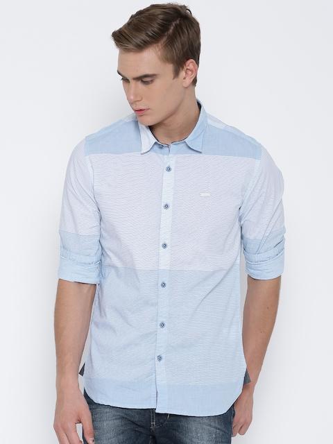 Numero Uno Blue Striped Slim Fit Casual Shirt