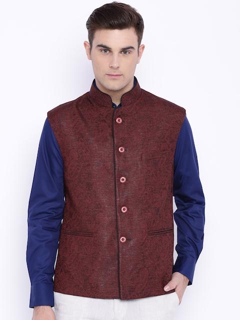 Raymond Maroon Contemporary Fit Nehru Jacket