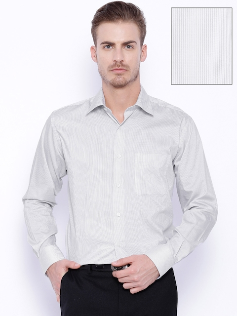 Raymond Grey Striped Contemporary Fit Formal Shirt