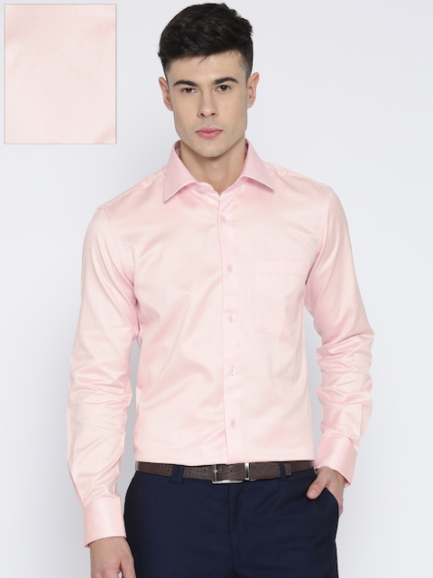 Raymond Men Peach-Coloured Contemporary Fit Self-Design Formal Shirt
