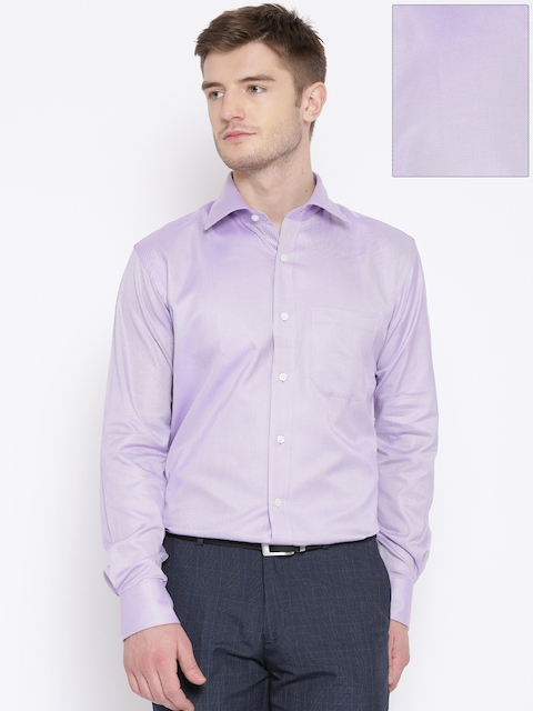 Raymond Lavender Pinstriped Contemporary Fit Formal Shirt