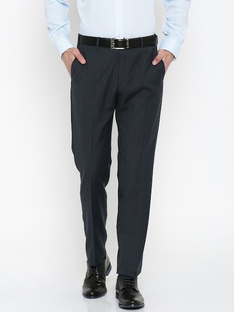 Raymond Men Blue Self-Design Contemporary Fit Formal Trousers