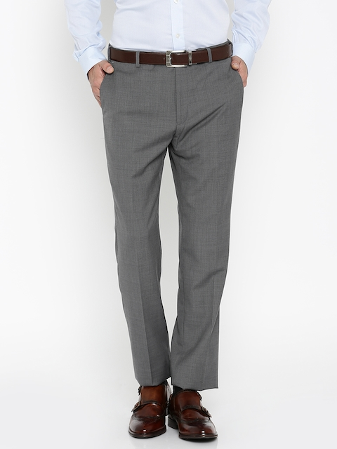 Raymond Men Grey Self-design Contemporary Fit Formal Trousers
