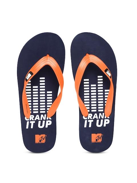 MTV Men Orange & Navy Flip-Flops