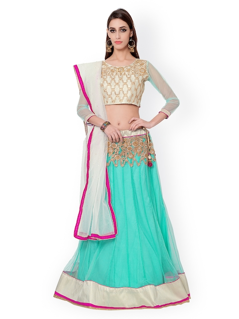 Bhelpuri Off-White & Turquoise Blue Embroidered Net & Silk Semi-Stitched Lehenga Choli with Dupatta  available at myntra for Rs.2257