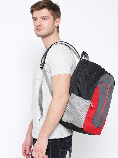 Skybags Unisex Grey & Red Textured Backpack
