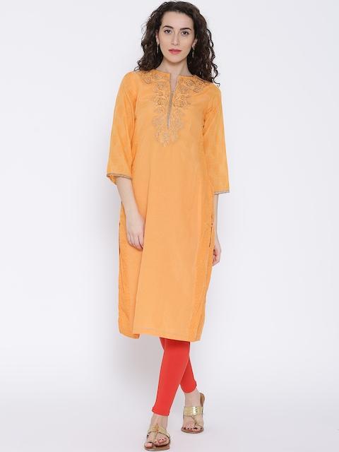 BIBA Orange Embroidered Kurta
