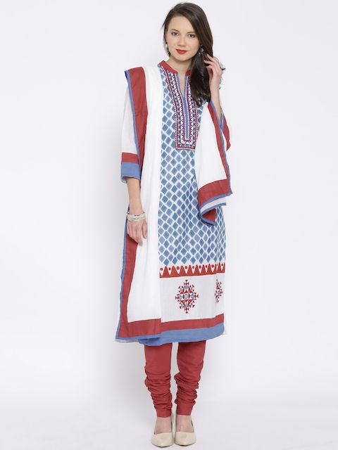BIBA Blue & Maroon Printed Churidar Kurta with Dupatta