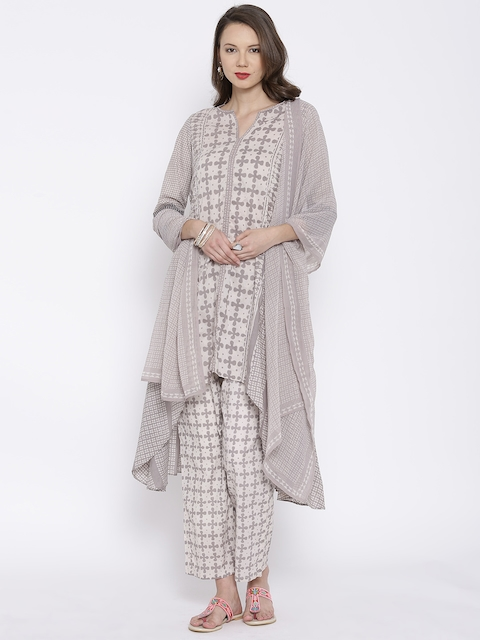 BIBA Taupe & Grey Printed A-Line Kurta with Palazzo Trousers & Dupatta