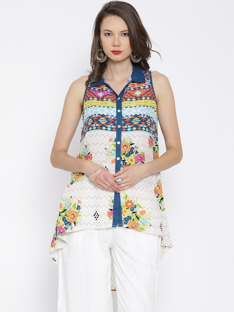 BIBA Multicoloured Printed High-Low Tunic  available at myntra for Rs.539