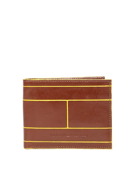Tommy Hilfiger Men Brown Printed Genuine Leather Wallet