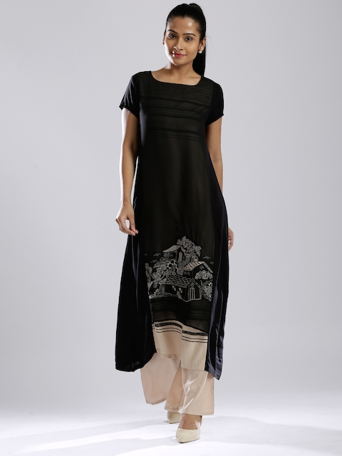 W Black Embroidered A-Line Kurta