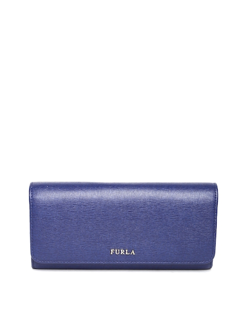 Furla Women Navy Textured Leather Wallet