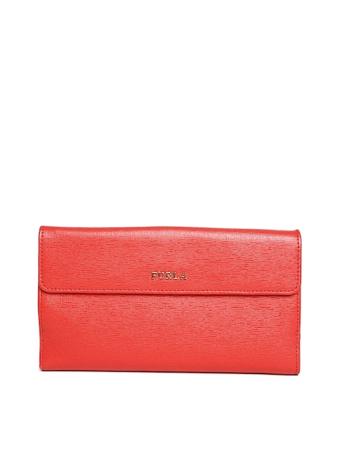 Furla Women Red Textured Leather Wallet